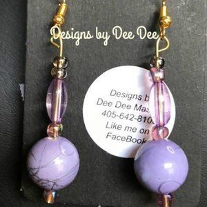 Gold Tone Hook Earrings with Drop Beads